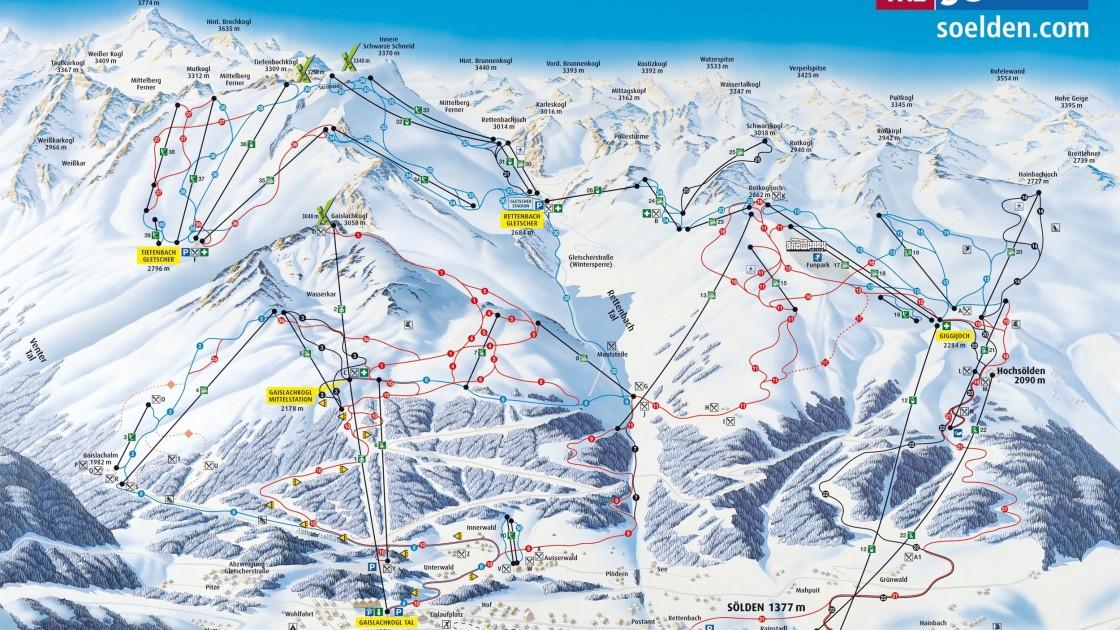Solden Ötz Valley piste map